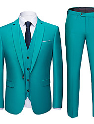 cheap -Tuxedos Tailored Fit Slim Notch Single Breasted One-button Polyester Solid Color / British / Fashion