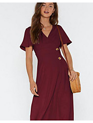 cheap -Women's A Line Dress - Solid Color Black Wine White S M L XL