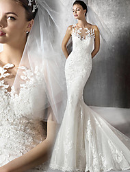 cheap -Mermaid / Trumpet Wedding Dresses Jewel Neck Court Train Lace Tulle Lace Over Satin Sleeveless Sexy Plus Size with Appliques 2020