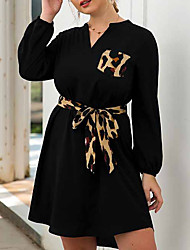 cheap -Women's Black Dress A Line Leopard V Neck XL XXL