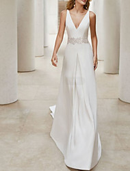 cheap -A-Line V Neck Court Train Satin Sleeveless Formal Plus Size Wedding Dresses with Draping / Appliques 2020