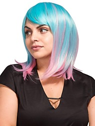 cheap -Synthetic Wig kinky Straight Halloween Bob Neat Bang Wig Short Ombre Blue Synthetic Hair 24 inch Women's Best Quality Blue