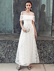 cheap -A-Line Illusion Neck Floor Length Lace / Satin White Party Wear / Formal Evening Dress with Ruffles / Pattern / Print 2020