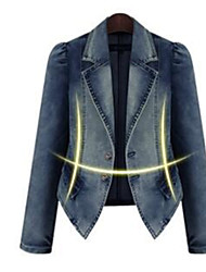 cheap -Women's Daily Regular Jacket, Solid Colored Peaked Lapel Long Sleeve Polyester Blue