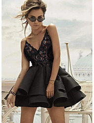 cheap -Women's Mini Black Dress Cute Going out Club Skater Solid Color Strap V Neck Lace Patchwork S M