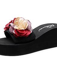 cheap -Women's Slippers & Flip-Flops Wedge Heel Open Toe Satin Flower Polyester Sweet / Chinoiserie Walking Shoes Summer Green / Red / Light Pink