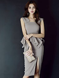 cheap -Women's Sheath Dress - Solid Color Gray S M L XL