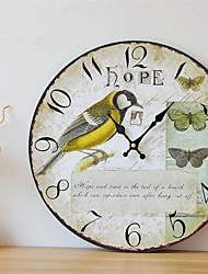 cheap -1pcs Retro Country Bird Wall Decoration Frameless Painting Wall Clock