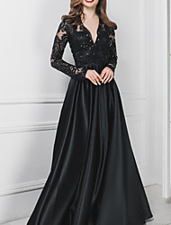 cheap -A-Line V Neck Floor Length Polyester Long Sleeve Formal Plus Size / Black / Modern Wedding Dresses with Draping / Appliques 2020