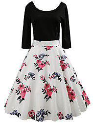 cheap -Women's White Black Dress Vintage Style Street chic Party Daily Swing Print Square Neck Patchwork Print S M / Cotton