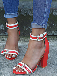 cheap -Women's Sandals Chunky Heel Peep Toe PU Casual Spring & Summer Black / White / Orange / Striped