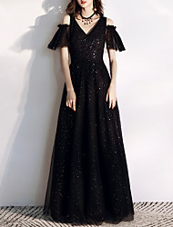 cheap -A-Line V Neck Floor Length Tulle / Sequined Sparkle / Black Engagement / Formal Evening Dress with Sequin 2020