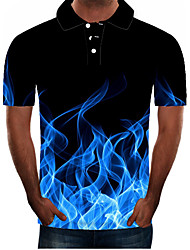 cheap -Men's Plus Size 3D Graphic Slim Polo Street chic Exaggerated Daily Going out Shirt Collar Black / Blue / Purple / Red / Yellow / Orange / Green / Short Sleeve