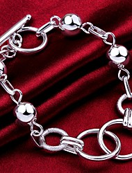 cheap -Men's Chain Bracelet Bracelet Hollow Out Fashion Fashion Copper Bracelet Jewelry Silver For Gift Formal Birthday Festival / Silver Plated