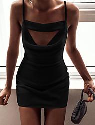 cheap -Women's Party Sexy Little Black Dress - Solid Color Black S M L XL