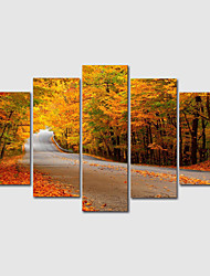 cheap -Print Rolled Canvas Print Painting set of 5 pcs Modern Landscape  Art Prints with Frame