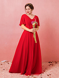 cheap -A-Line Plus Size Red Engagement Formal Evening Dress V Neck Short Sleeve Floor Length Chiffon Satin with Pleats 2020