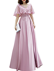 cheap -A-Line Pink Spring Engagement Prom Dress V Neck Short Sleeve Floor Length Polyester with Beading 2020