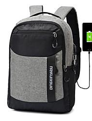cheap -Men's Polyester School Bag Commuter Backpack Functional Backpack Large Capacity Waterproof Zipper Color Block School Outdoor Black Blue Red Gray