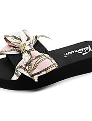 cheap -Women's Slippers & Flip-Flops Flat Heel Open Toe Bowknot Polyester Casual / Minimalism Walking Shoes Summer / Spring & Summer Light Pink