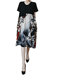 cheap -Women's Loose Dress - Short Sleeves Geometric Patchwork Print Casual Chinoiserie Daily Going out Loose Black L XL XXL XXXL XXXXL XXXXXL