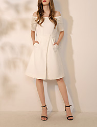 cheap -A-Line Elegant White Graduation Cocktail Party Dress Off Shoulder Short Sleeve Knee Length Spandex with Split 2020