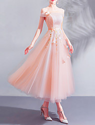 cheap -A-Line Off Shoulder Ankle Length Lace / Tulle Bridesmaid Dress with Appliques