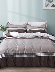 cheap -Hotel Series Burgundy Stripes Patchwork Duvet Cover Set Lightweight Reversible Soft 3Pcs Set(1 Duvet Cover  2 Pillow Shams)King/Queen