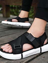 cheap -Men's Canvas Spring & Summer British / Preppy Sandals Walking Shoes Breathable Black / White