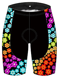 cheap -21Grams Women's Cycling Shorts Spandex Polyester Bike Shorts Padded Shorts / Chamois Pants Breathable 3D Pad Quick Dry Sports Floral Botanical Black / Red Mountain Bike MTB Road Bike Cycling Clothing