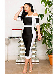 cheap -Women's Black Dress Sheath Color Block Strap Off Shoulder XXL XXXL Slim