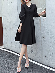 cheap -A-Line V Neck Knee Length Spandex Minimalist / Black Cocktail Party / Party Wear Dress with Buttons 2020