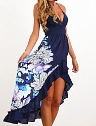 cheap -Women's Blue White Dress Sheath Print V Neck S M