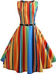 cheap -Women's Party Daily Vintage Style Street chic Swing Dress - Striped Patchwork Print Orange S M L XL