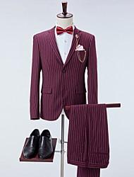 cheap -Men's Suits Notch Lapel Polyester Wine