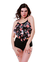 cheap -Women's Basic Black Halter High Waist Bikini Swimwear Swimsuit - Floral Ruffle S M L Black