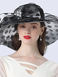 cheap -Vintage Style Fashion Tulle / Organza Hats / Headwear with Bowknot / Flower / Polka Dot 1 Piece Wedding / Outdoor Headpiece