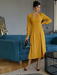 cheap -Women's Yellow Dress Sheath Solid Color V Neck S M