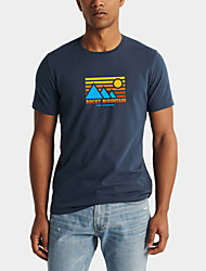 cheap -Men's Daily Sports Business / Basic T-shirt - Rainbow / Abstract Black & White, Print Black