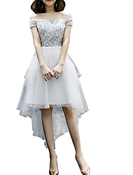 cheap -A-Line Hot White Graduation Cocktail Party Dress Off Shoulder Short Sleeve Asymmetrical Polyester with Sequin 2020