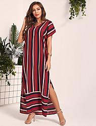 cheap -Women's Daily Work Casual Sophisticated Shift Maxi Dress - Color Block Wine S M L XL