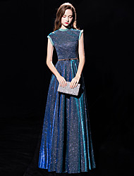 cheap -A-Line Sparkle Blue Engagement Formal Evening Dress High Neck Sleeveless Floor Length Sequined with Sequin 2020