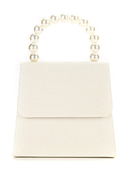 cheap -Women's Pearls Polyester / Alloy Evening Bag Solid Color Beige