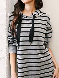 cheap -Women's Gray Dress A Line Striped S M