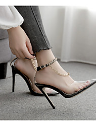 cheap -Women's Heels Transparent Shoes Stiletto Heel Pointed Toe PU Spring & Summer Black / Beige / Daily