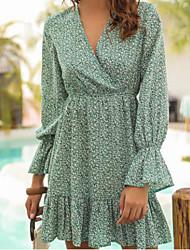 cheap -Women's Chiffon Dress - Polka Dot Green S M L XL