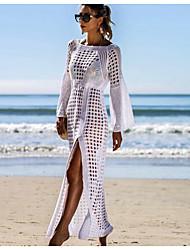 cheap -Women's Sheath Dress - Solid Color White Black Beige M L