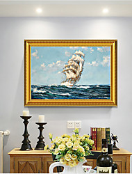 cheap -Framed Art Print European Type Oil Painting Sitting Room Sofa Background Seascape Sailing Boat Plain Sailing Scenery Decorative Ready To Hang Painting
