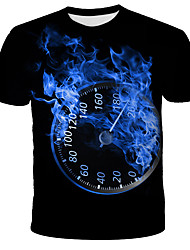 cheap -Men's Daily Holiday Street chic / Exaggerated T-shirt - 3D / Tie Dye / Animal Wolf, Print Black