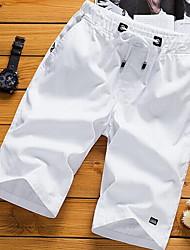 cheap -Men's Basic Plus Size Cotton Shorts Pants - Solid Colored White Black Orange US36 / UK36 / EU44 / US38 / UK38 / EU46 / US40 / UK40 / EU48